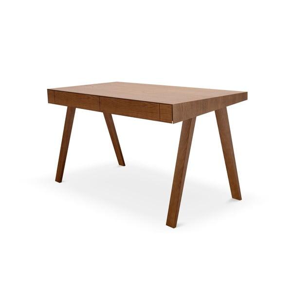 Barna asztal kőrisfa lábakkal, 140x70cm - EMKO