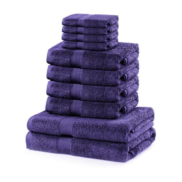 Marina Purple szett 8 lila törölközővel és 2 fürdőlepedővel - DecoKing