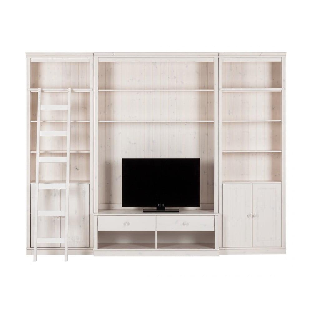 Bílá TV stěna z borovicového masivu Støraa Annabelle, šířka 288 cm