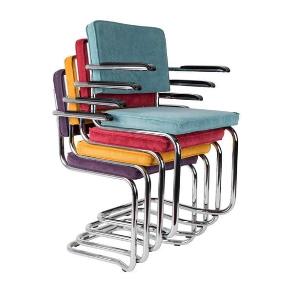 Sada 2 oranžových židlí s područkami Zuiver Ridge Kink Rib