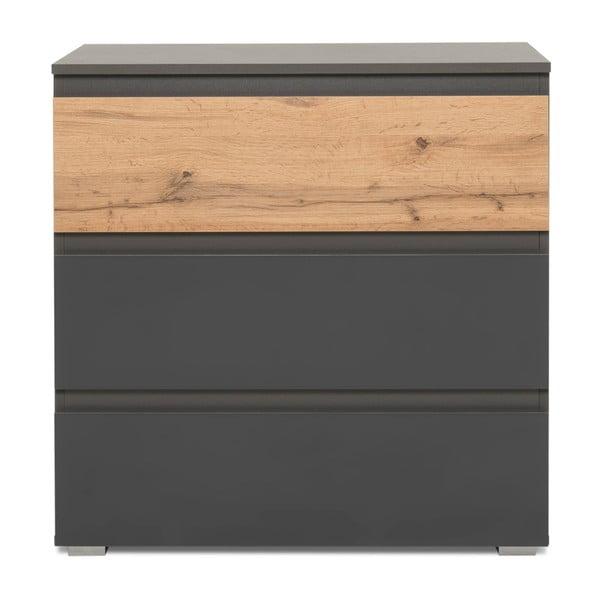 Komoda v dřevěném dekoru se 3 zásuvkami a antracitově šedými detaily Intertrade Image