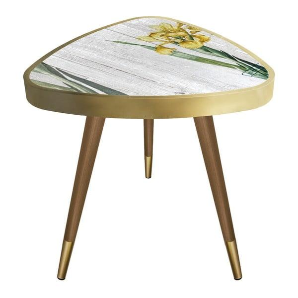 Príručný stolík Maresso Yellow Orchid Triangle, 45 × 45 cm