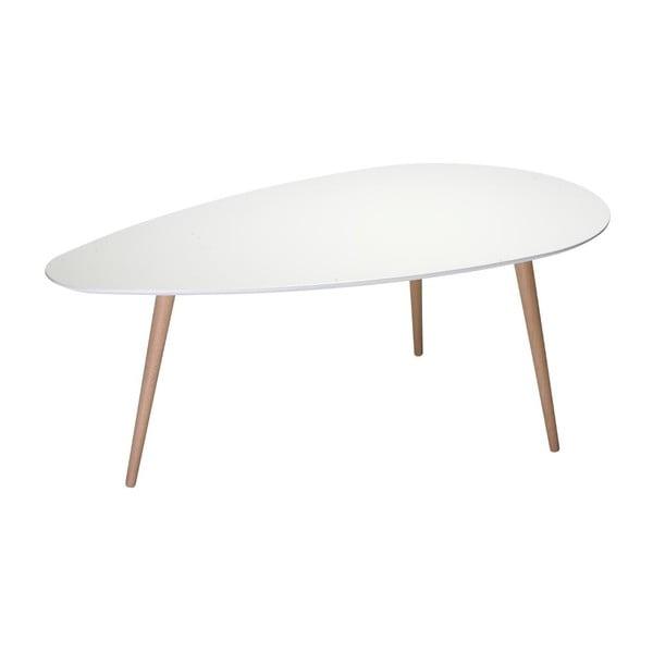 Biały stolik z nogami z drewna bukowego Furnhouse Fly, 116x66 cm