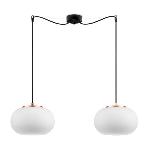 Biała lampa wisząca z 2 abażurami a z miedzianą obwódką Sotto Luce DOSEI