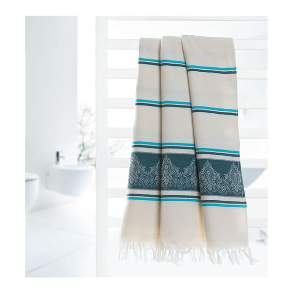 Prosop hammam Deco Bianca Loincloth Dark Blue/Turquoise, 80 x 170 cm, turcoaz - bej