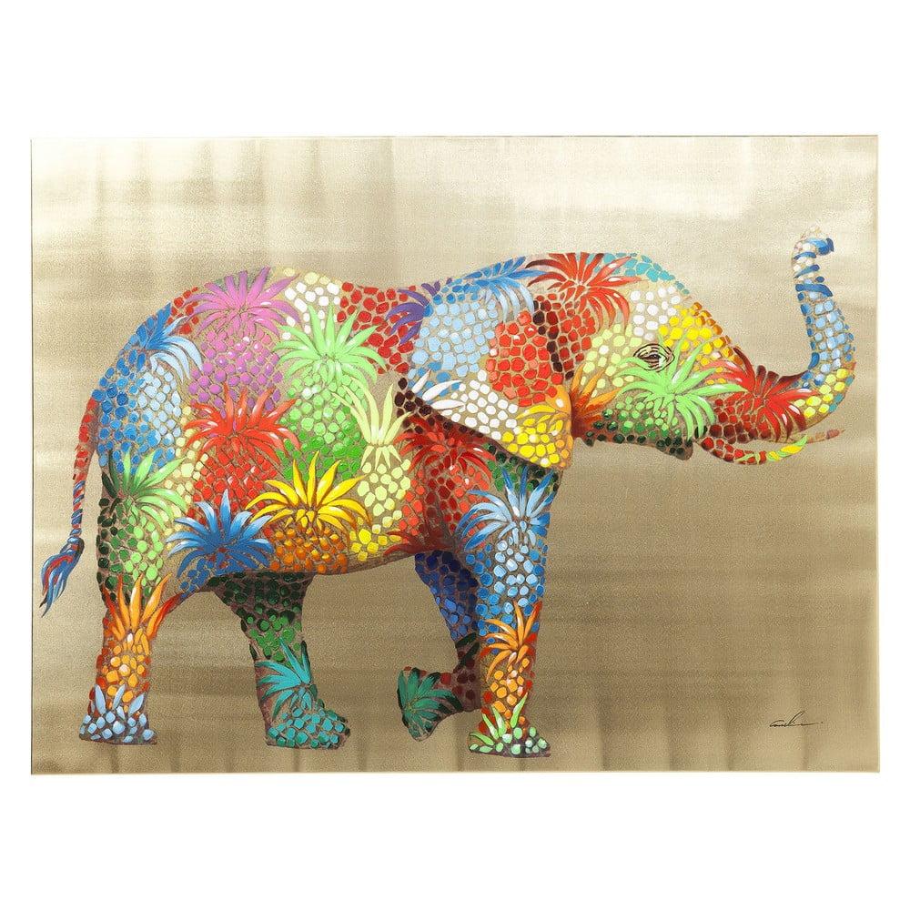 Obraz slona Kare Design Touched Flower Elefant, 120 x 90 cm