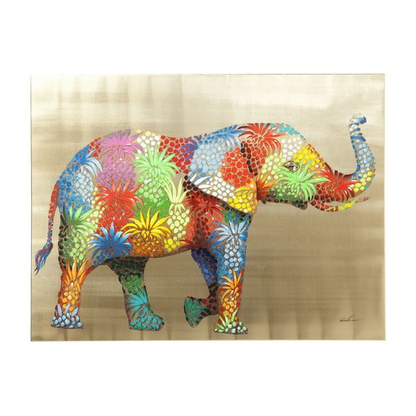 Obraz slona Kare Design Touched Flower Elefant, 120 x 90 cm