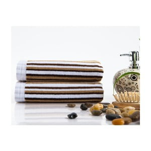 Sada 2 ručníků Flat Stripe Brown, 40x80 cm