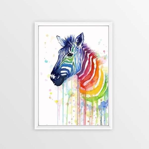 Rainbow Zebra kép, 30x20cm - Piacenza Art