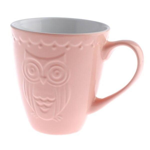 Różowy kubek ceramiczny Dakls Owl, 530 ml