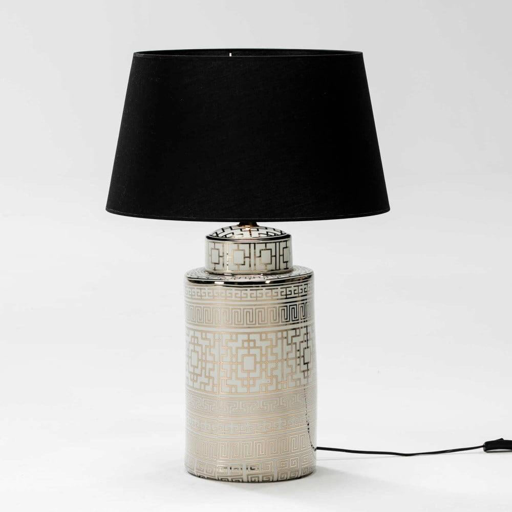 Bílo-zlatá stolní lampa z keramiky bez stínítka Thai Natura Silvia