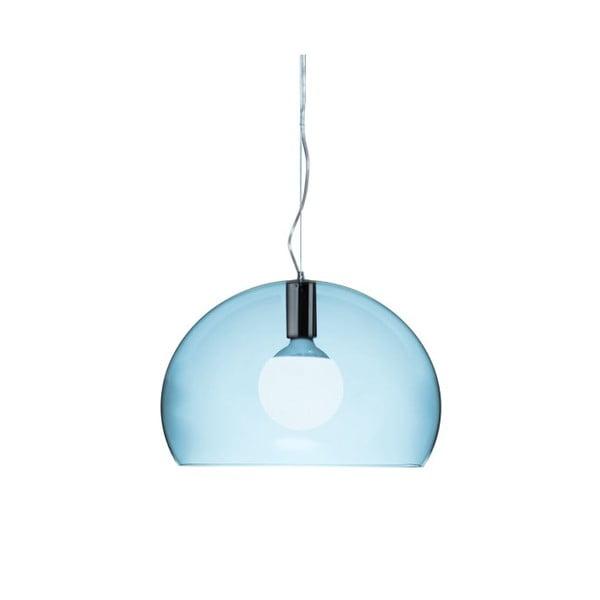 Menší světle modré stropní svítidlo Kartell Fly
