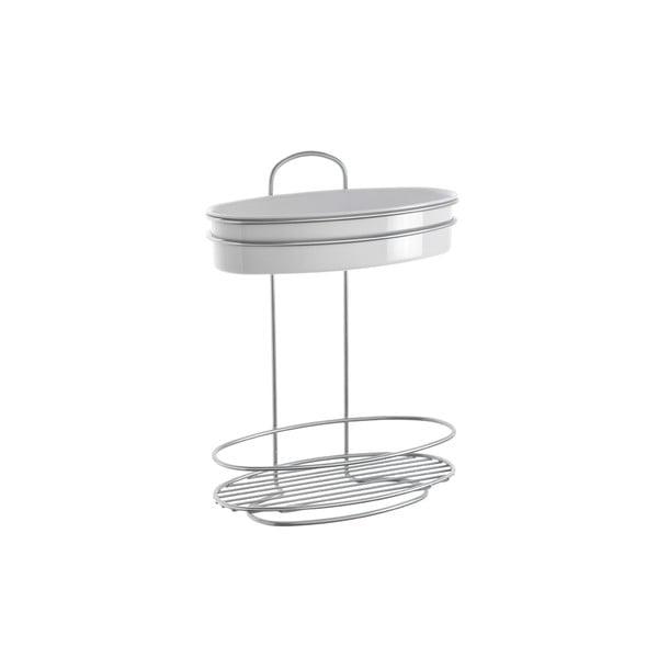 Kétszintes ovális fürdőszobai polc, hossz 26 cm - Metaltex