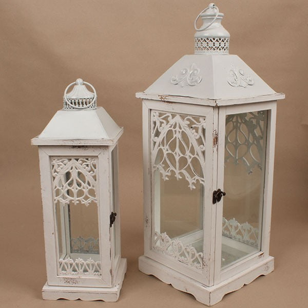 Sada 2 dřevěných luceren Dakls Vintage White