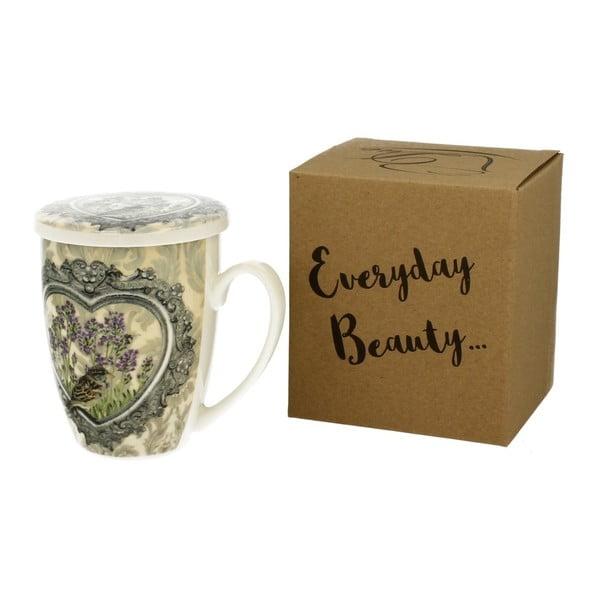 Porcelánový hrnek s víčkem a sítkem Duo Gift Bloom, 320 ml