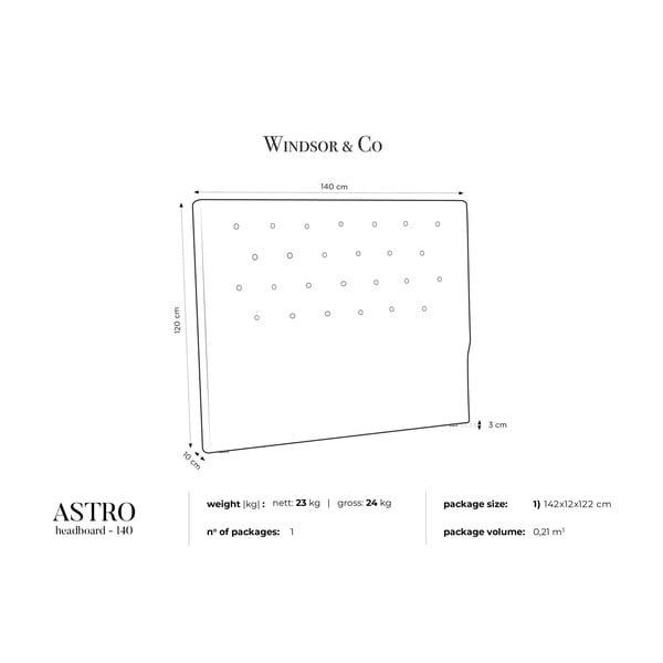 Černé čelo postele Windsor & Co Sofas Astro, 140 x 120 cm