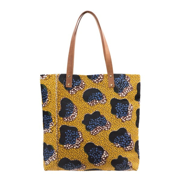 Hořčicová kožená vintage maxi taška O My Bag Lou's Print