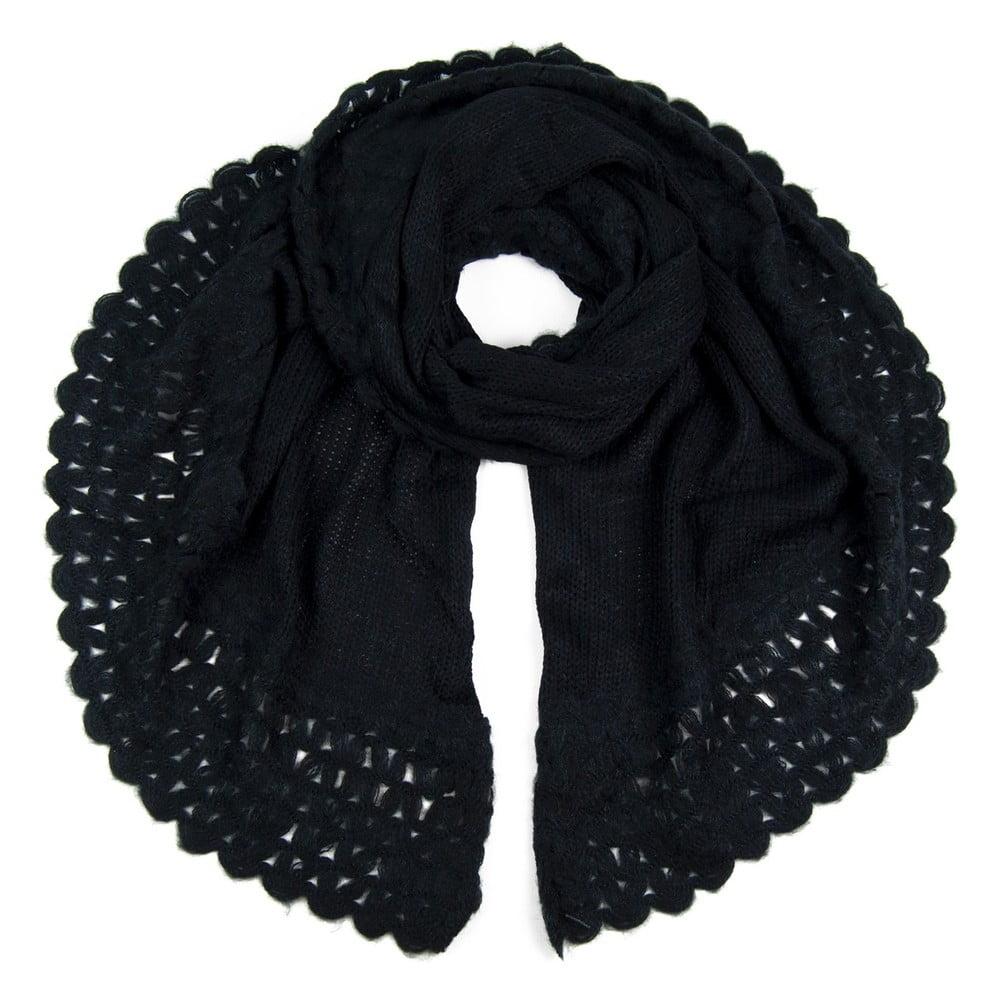 b003d8eca6b Černá šála s ozdobným lemem Art of Polo Ina
