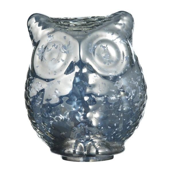 Dekorativní skleněná sova Antique Silver