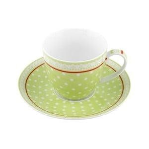 Porcelánový šálek s podšálkem Dots, zelený 4 ks