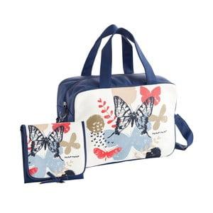 Set tmavě modré tašky na kočárek a přebalovací podložky Naf Naf Butterfly
