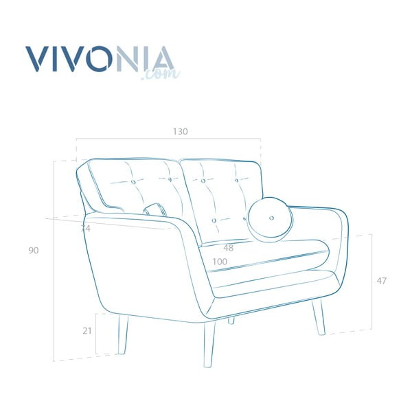 Canapea cu 2 locuri Vivonia Malva, piersică - maro
