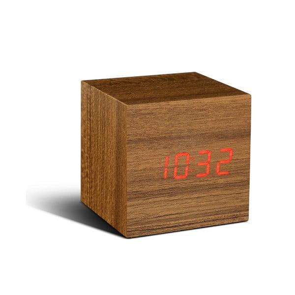 Cube Click Clock világosbarna ébresztőóra piros LED kijelzővel - Gingko