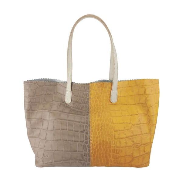 Kožená kabelka Gerardina Grey & Yellow