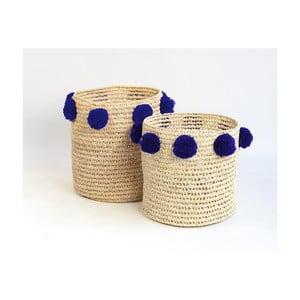 Sada 2 úložných košíků z palmových vláken s tmavě modrými dekoracemi Madre Selva Milo Basket