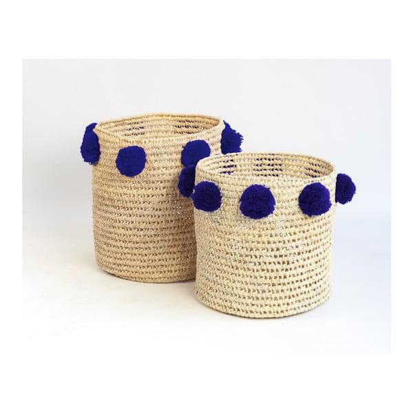 Sada 2 úložných košíkov z palmových vlákien s tmavomodrými dekoráciami Little Nice Things Basket