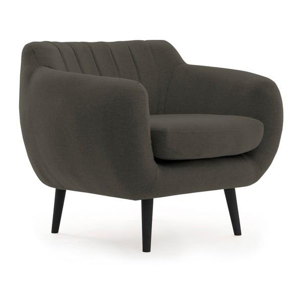 Ciemnoszary fotel z czarnymi nogami VIVONITA Kennet