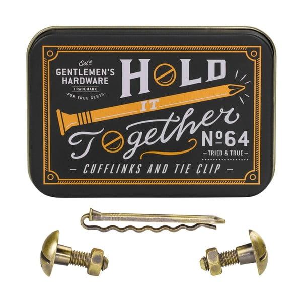 Sada manžetových knoflíčků a spony na kravatu Gentlemen's Hardware Hold
