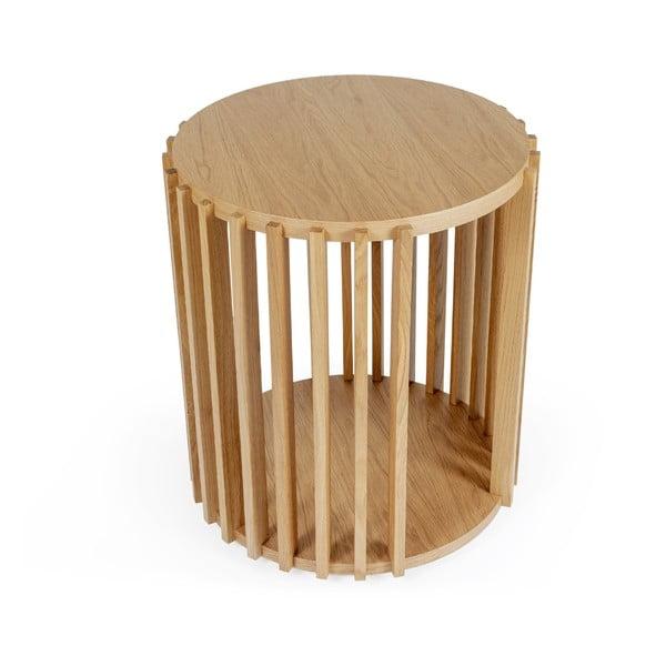 Măsuță auxiliară din lemn de stejar Woodman Drum, ø 53 cm