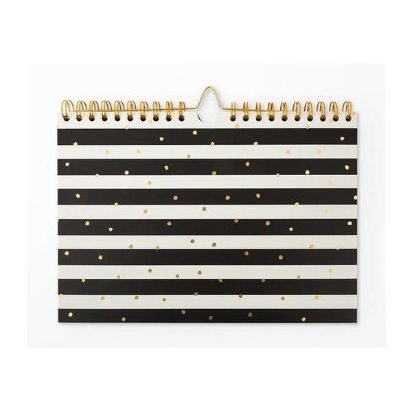 Černobílý týdenní plánovač GO Stationery Stripe, 30x21cm