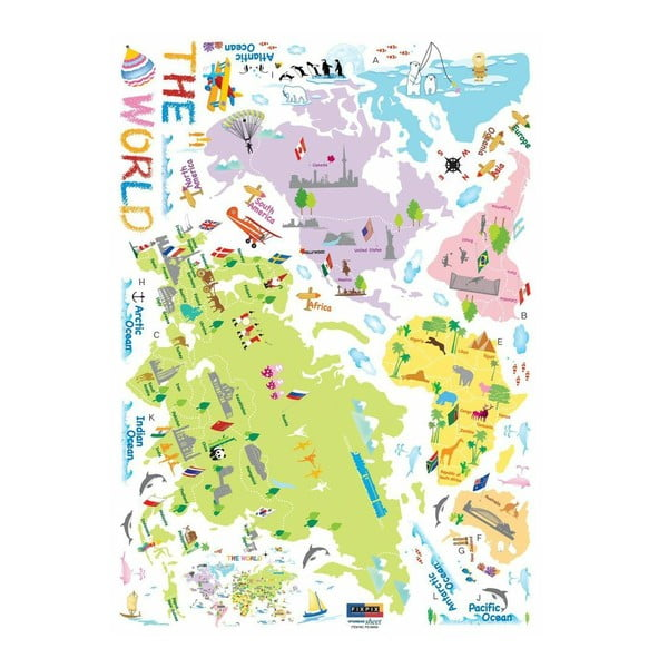 Set autocolante Ambiance World Map for Children