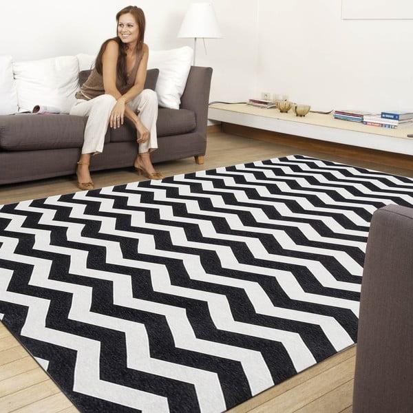 Vysoce odolný kuchyňský koberec Webtappeti Optical Black White,60x 240 cm