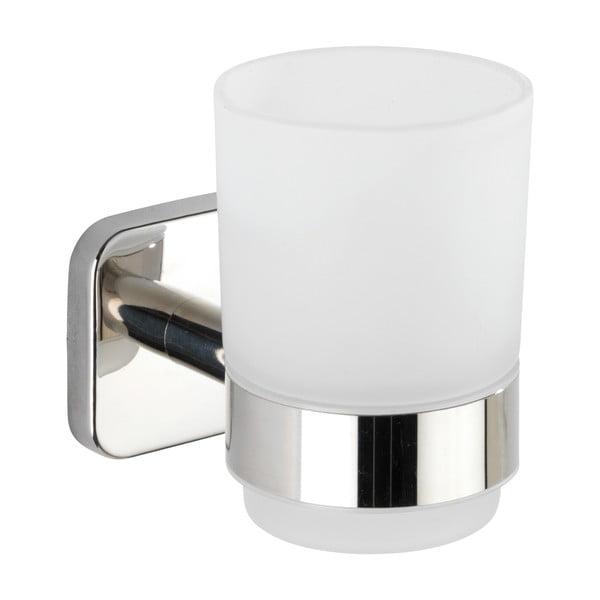 Recipient de perete pentru periuțe de dinți cu suport din oțel inoxidabil Wenko Mezzano, alb
