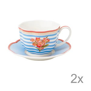 Porcelánový šálek s podšálkem Seaside od Lisbeth Dahl, 2 ks