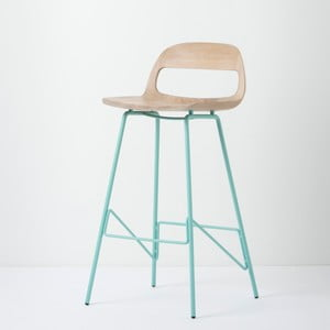 Barová židle se sedákem z masivního dubového dřeva a zelenými nohami Gazzda Leina, výška94cm