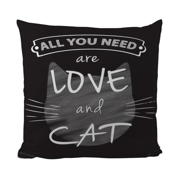 Polštářek Black Shake Love And Cat, 50x50 cm
