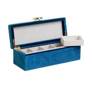 Modrá šperkovnice se sametovým povrchem InArt