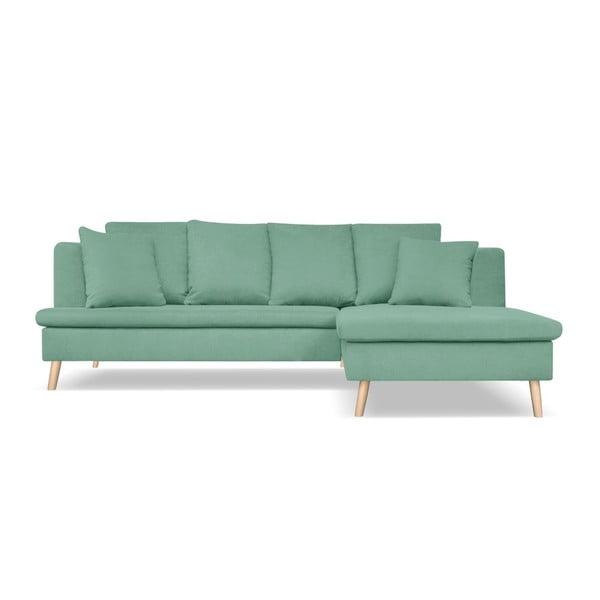 Mentolově zelená pohovka pro čtyři s lenoškou na pravé straně Cosmopolitan design Newport