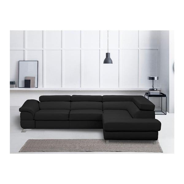 Tmavě šedá kožená rozkládací rohová pohovka Windsor & Co Sofas Gamma, pravý roh