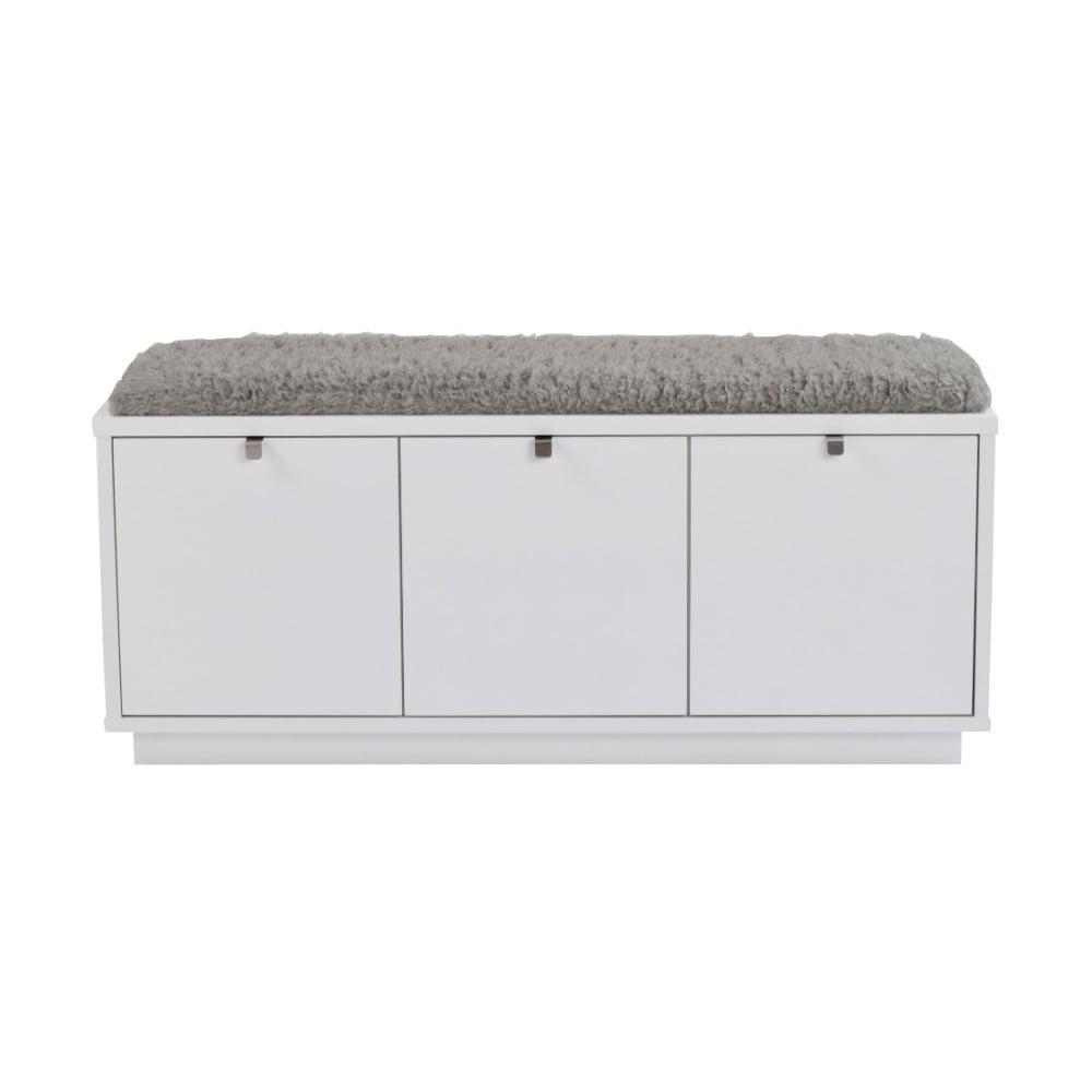 Bílá lavice s úložným prostorem a s šedým sedákem Folke Confetti, šířka 106 cm