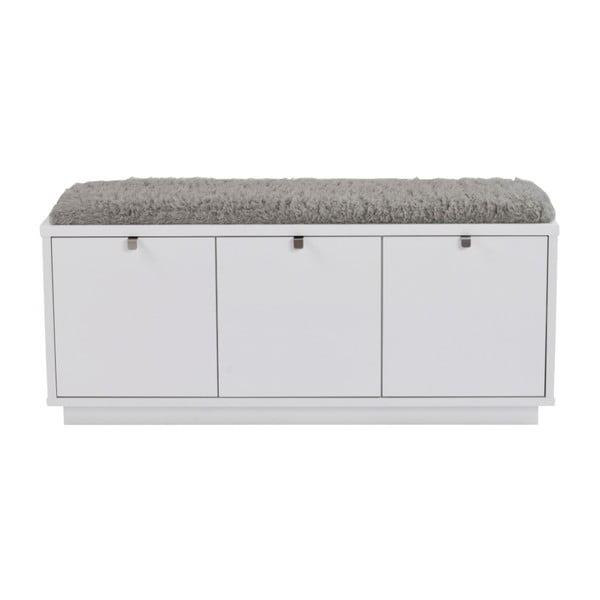 Bancă cu spațiu pentru depozitare și șezut gri Rowico Confetti, lățime 106cm, alb