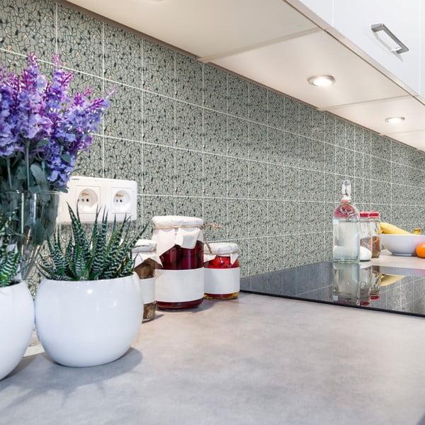 Sada 60 nástěnných samolepek Ambiance Cement Tiles Terrazzo Victorino, 10 x 10 cm