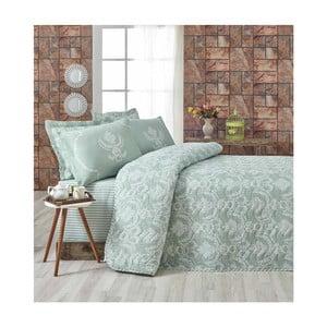 Světle zelený přehoz přes postel na dvoulůžko s povlaky na polštáře Pure,200x220cm