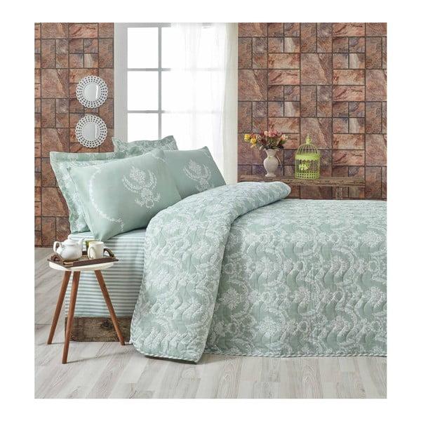 Pure világoszöld kétszemélyes ágytakaró és 2 db párnahuzat, 200 x 220 cm
