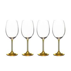 Sada 4 sklenic na víno ze okrového křišťálového skla Bitz Fluidum, 450 ml