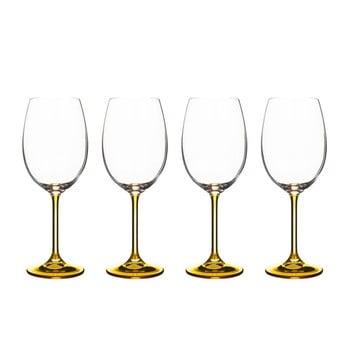 Set 4 pahare pentru vin din cristal Bitz Fluidum, 450 ml, ocru de la Bitz